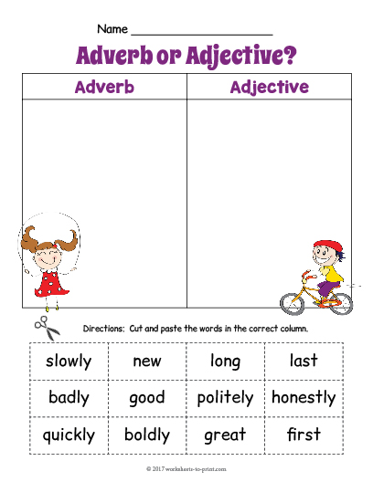 Adjective Adverb Sort Worksheet 1