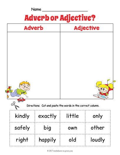 Adverbs adjectives worksheet pdf