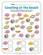 At the Beach Counting Worksheet thumbnail