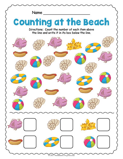 At The Beach Counting Worksheet on Preschool Graph