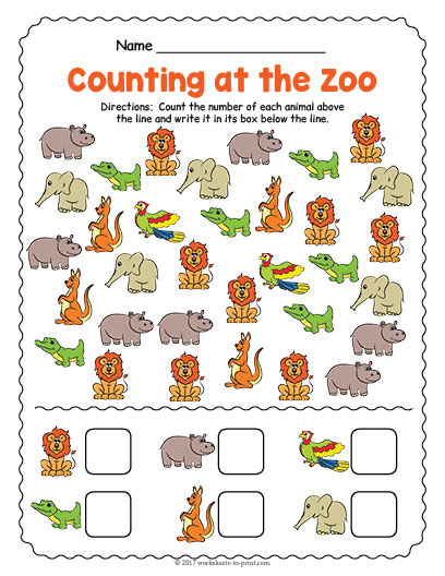 Zoo Animal Worksheets : At the zoo counting worksheet