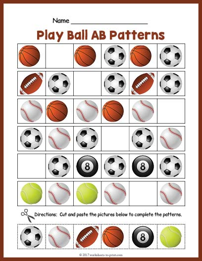Sports Balls AB Pattern Worksheet Amazing Ab Pattern