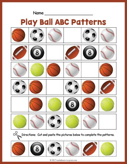 sports balls abc pattern worksheet. Black Bedroom Furniture Sets. Home Design Ideas