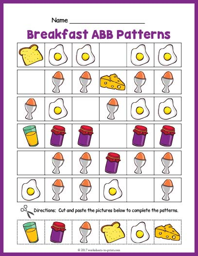 breakfast abb pattern worksheet. Black Bedroom Furniture Sets. Home Design Ideas