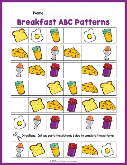 breakfast abc pattern worksheet. Black Bedroom Furniture Sets. Home Design Ideas