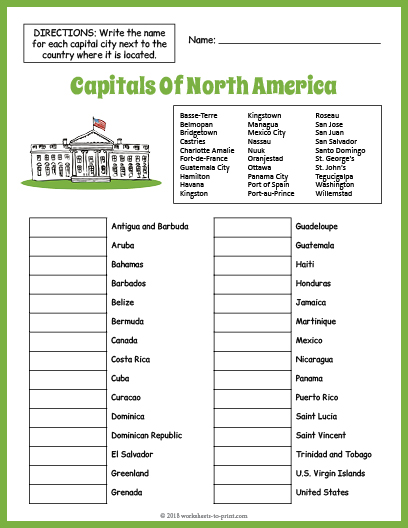 Capitals Of North America Geography Worksheet on
