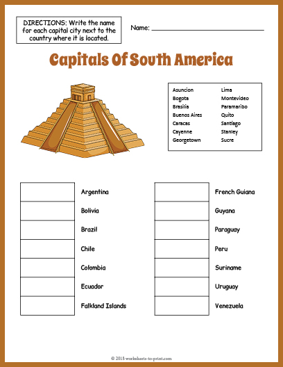 Capitals Of South America Geography Worksheet on