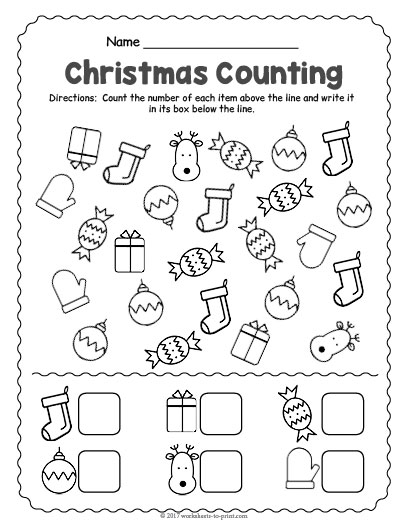 image relating to Printable Counting Worksheets named Xmas Counting Worksheet