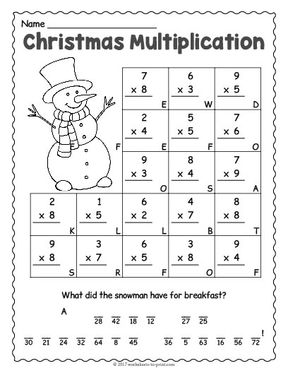 christmas multiplication worksheet. Black Bedroom Furniture Sets. Home Design Ideas