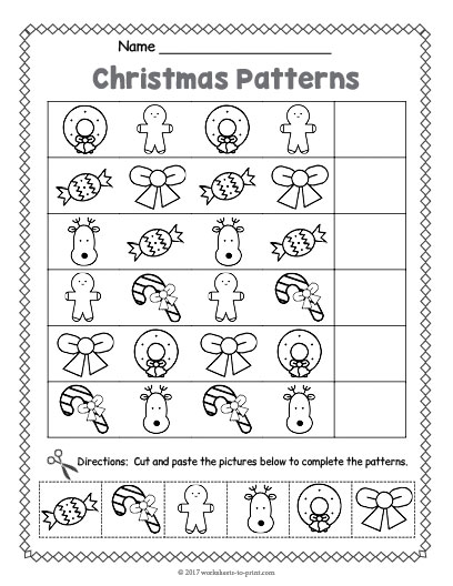christmas pattern worksheet. Black Bedroom Furniture Sets. Home Design Ideas