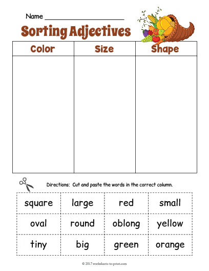Cornucopia Adjective Sorting Worksheet