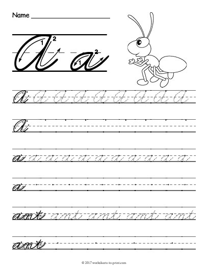 Free cursive handwriting worksheets a z