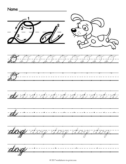 cursive d worksheet. Black Bedroom Furniture Sets. Home Design Ideas
