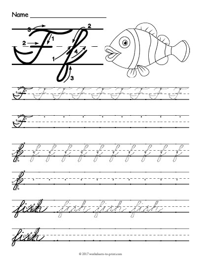 how to write f in cursive Learn to write the letter f in cursive trace the cursive f's (lowercase and uppercase) and then write them on their own as well as trace some words that have the letter f.