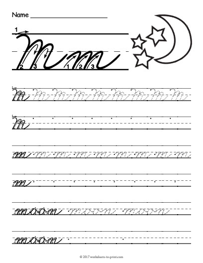 cursive m worksheet. Black Bedroom Furniture Sets. Home Design Ideas