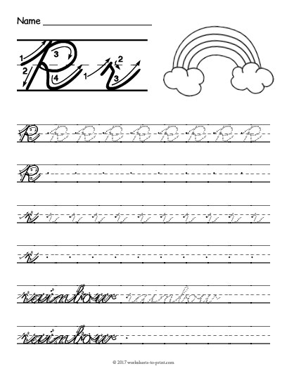 Cursive R Worksheet