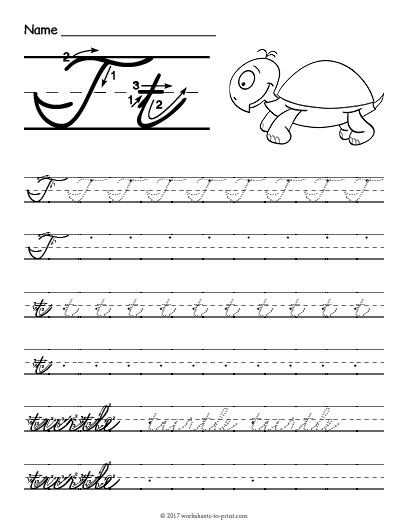 Cursive T Worksheet