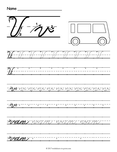 Cursive V Worksheet