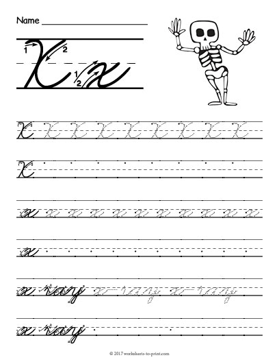 Cursive X Worksheet