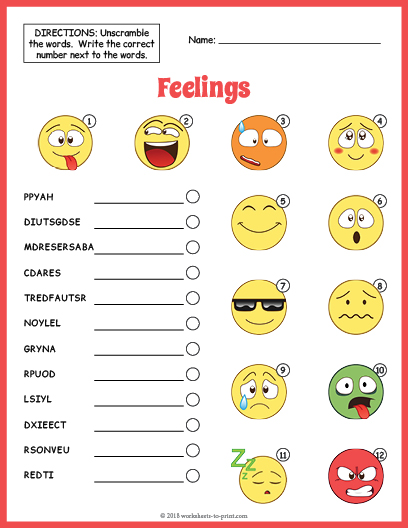 photo relating to Emoji Feelings Printable identify Thoughts Vocabulary Worksheet