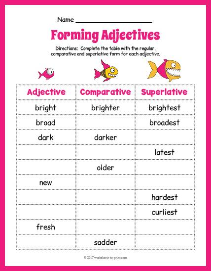 Fish Adjective Forms Worksheet thumbnail