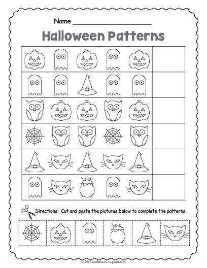 halloween pattern worksheet. Black Bedroom Furniture Sets. Home Design Ideas