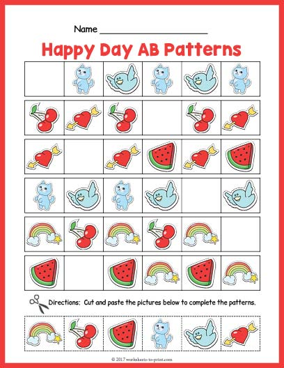 Pattern Worksheets Enchanting Ab Pattern