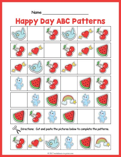 happy day abc pattern worksheet. Black Bedroom Furniture Sets. Home Design Ideas
