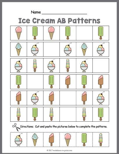 Ice Cream AB Pattern Worksheet