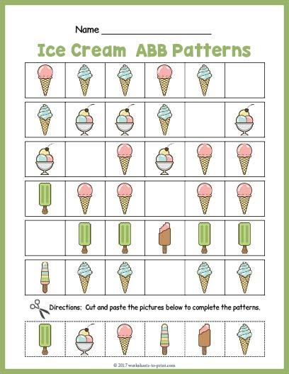 Ice Cream ABB Pattern Worksheet