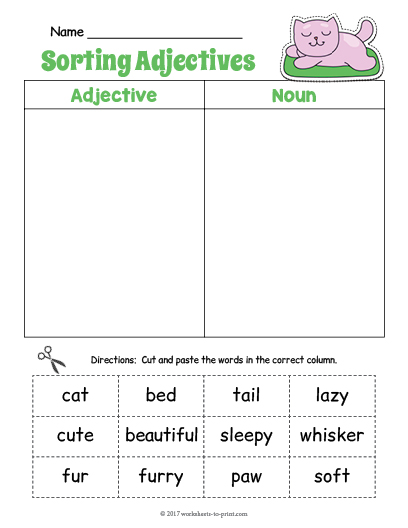 Fabulous image with regard to adjectives printable worksheets