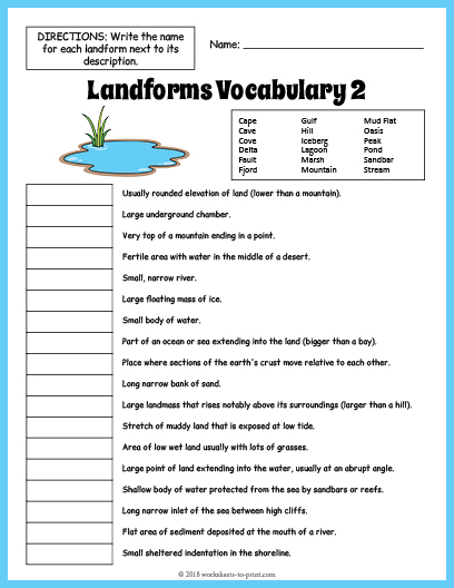 Landforms Vocabulary Worksheet 2
