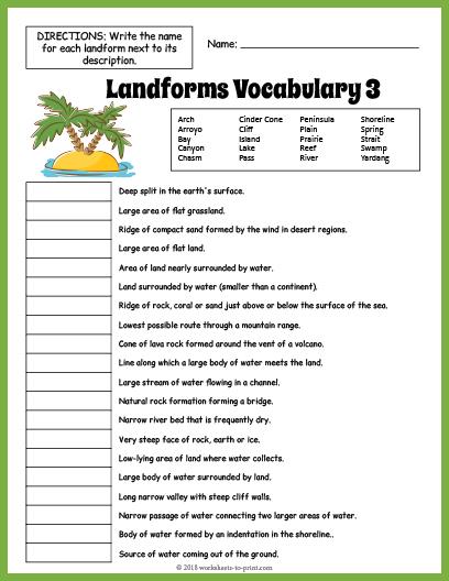 Landforms Vocabulary Worksheet 3