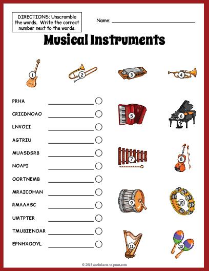 musical instruments vocabulary worksheet. Black Bedroom Furniture Sets. Home Design Ideas