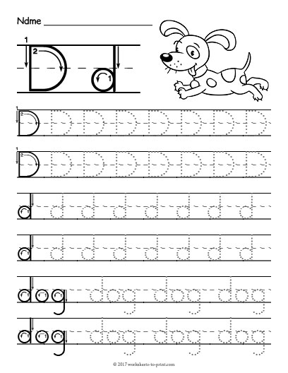 tracing letter d worksheet. Black Bedroom Furniture Sets. Home Design Ideas