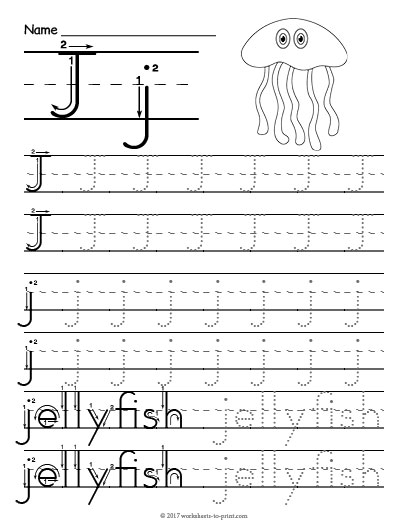 Tracing Letter J Worksheet