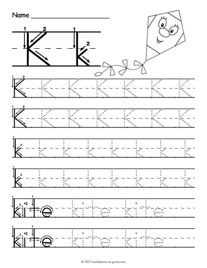 tracing letter k worksheet. Black Bedroom Furniture Sets. Home Design Ideas