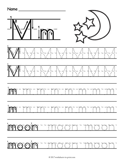 tracing letter m worksheet. Black Bedroom Furniture Sets. Home Design Ideas