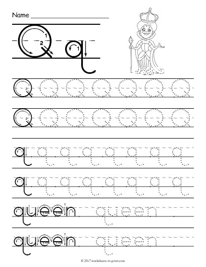 tracing letter q worksheet. Black Bedroom Furniture Sets. Home Design Ideas