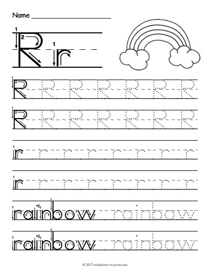 tracing letter r worksheet. Black Bedroom Furniture Sets. Home Design Ideas
