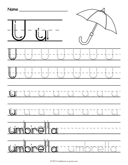 tracing letter u worksheet. Black Bedroom Furniture Sets. Home Design Ideas