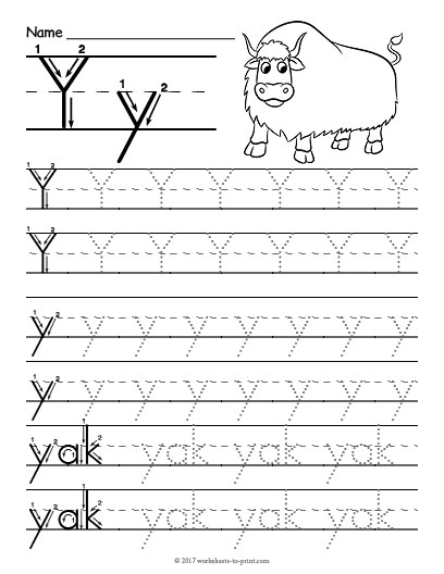 tracing letter y worksheet. Black Bedroom Furniture Sets. Home Design Ideas