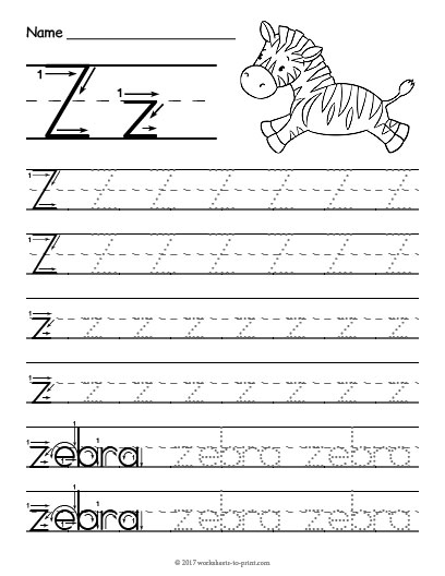 tracing letter z worksheet. Black Bedroom Furniture Sets. Home Design Ideas