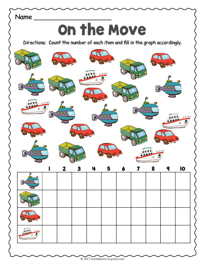 Transportation Count And Graph Worksheet on Number Tracing Worksheets