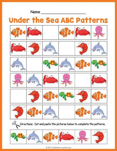 under the sea abc pattern worksheet. Black Bedroom Furniture Sets. Home Design Ideas