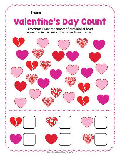 valentines day counting worksheet. Black Bedroom Furniture Sets. Home Design Ideas